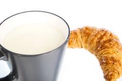 Latte con il croissant Fotografia Stock Libera da Diritti