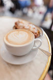 Latte with croissant Royalty Free Stock Images