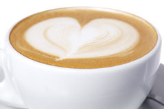 Latte Cup with Heart Design. Stock Photography