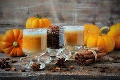 Latte da abóbora com especiarias e espuma chicoteada do leite Imagens de Stock Royalty Free
