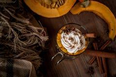 Latte de potiron avec de la crème et les épices fouettées Photographie stock