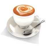 Latte del caffè con il disegno del cuore Immagini Stock Libere da Diritti
