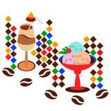 Latte del caffè con il gelato Fotografia Stock