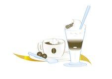 Latte del caffè espresso del caffè e del caffè Immagini Stock