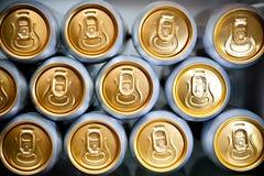 Latte del metallo con le bevande di rinfresco Fotografia Stock Libera da Diritti