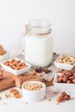 Latte del vegano dai dadi in barattolo di vetro Fotografie Stock Libere da Diritti