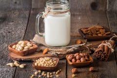 Latte del vegano dai dadi in barattolo di vetro Immagine Stock Libera da Diritti