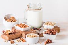 Latte del vegano dai dadi in barattolo di vetro Fotografia Stock