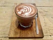 Latte delizioso Moca calda del caffe Vista superiore bevanda immagine stock libera da diritti