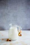 Latte della mandorla in brocca Fotografia Stock Libera da Diritti