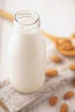 Latte della mandorla in una bottiglia di vetro e nei dadi della mandorla su un supporto Fotografia Stock Libera da Diritti