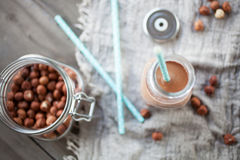 Latte della nocciola del cioccolato Immagine Stock