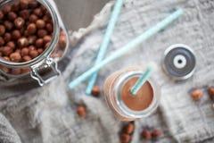 Latte della nocciola del cioccolato Fotografie Stock