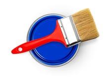 Latte della pittura e del pennello Fotografia Stock Libera da Diritti