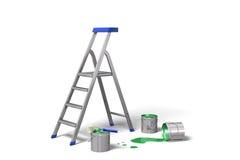 Latte della vernice e della scaletta Fotografie Stock Libere da Diritti