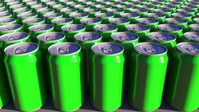 Latte di alluminio verdi generiche Bibite o produzione della birra Riciclaggio dell'imballaggio rappresentazione 3d Fotografia Stock Libera da Diritti