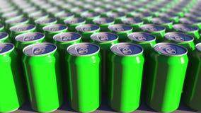 Latte di alluminio verdi multiple, fuoco basso Bibite o produzione della birra Riciclaggio dell'imballaggio rappresentazione 3d Fotografia Stock Libera da Diritti