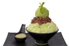 Latte di greentea di Bingsu con il greentea del gelato Fotografie Stock