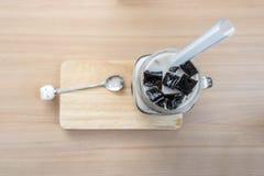 Latte di soia con la gelatina nera dell'erba Fotografie Stock Libere da Diritti