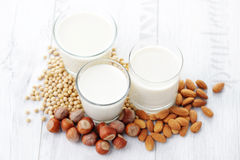 Latte differente del vegano Immagine Stock