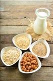 Latte differente del vegano in vetro Latte della mandorla, latte del sezame e oatm Fotografie Stock