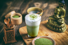 Latte do chá de Matcha imagem de stock