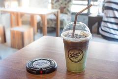 Latte do gelo do chá verde de Matcha Imagens de Stock Royalty Free