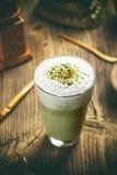 Latte do matcha do chá verde fotografia de stock