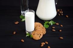 Latte e biscotti con la menta Fotografia Stock Libera da Diritti