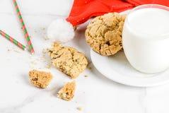 Latte e biscotti per Santa Fotografia Stock