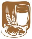 Latte e croissant Fotografia Stock Libera da Diritti