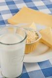 Latte e formaggio come le sostanze nutrienti o allergeni Immagini Stock Libere da Diritti