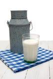 Latte e vetro di latte su un tovagliolo checkered fotografia stock