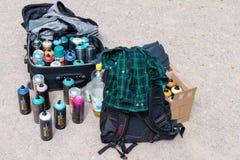 Latte ed accessori di spruzzo dei graffiti Fotografie Stock Libere da Diritti