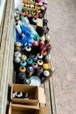 Latte ed accessori di spruzzo dei graffiti Immagine Stock
