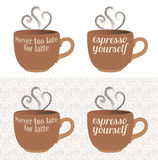 Latte and Espresso Coffee Cup Words Royalty Free Stock Images
