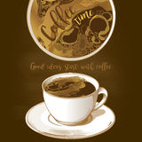 latte för kaffekopp stock illustrationer