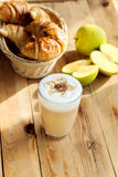Latte and french croissant Stock Photography