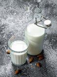 Latte fresco con le mandorle fotografia stock libera da diritti