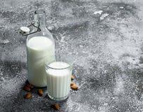 Latte fresco con le mandorle fotografia stock