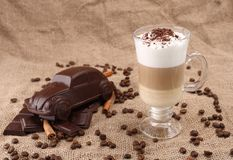 Latte in a glass beaker Stock Photos