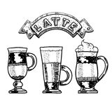 Latte Hand tecknad vektorillustration Fotografering för Bildbyråer