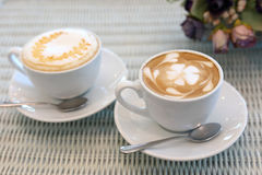 Latte hot coffee drink and caramel macchiato tasty Stock Photo