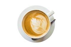 Latte kawa dalej odizolowywa biel Fotografia Stock
