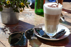 Latte Macchiato. For breakfast in decorative caf Royalty Free Stock Photography