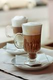 Latte and  macchiato in a cafe Stock Photography