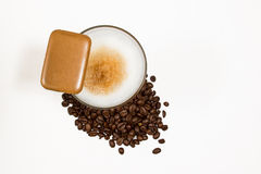 Latte macchiato 02. Latte macchiato with coffee beans and coockie from top Stock Images