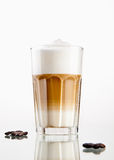 Latte macchiato. Coffee in a glass  on white Stock Photos