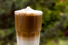Latte Macchiato with frothy milk Stock Images