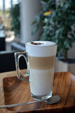 Latte Macchiato In Glass Cup Royalty Free Stock Images